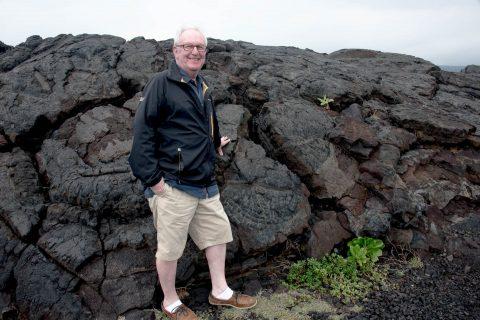 John with lava landscape, Big Island