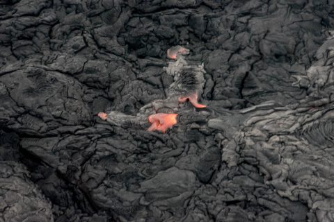 Flowing lava from air, Big Island