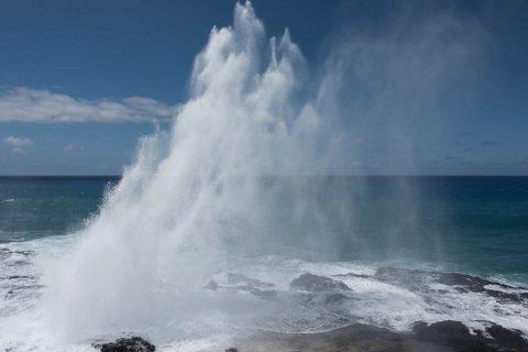 Blow hole from lava tube, Kauai