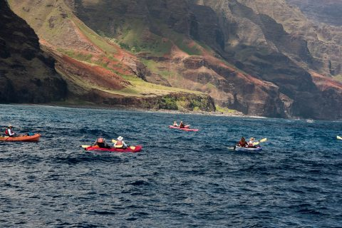 Kayakers off shore, Kauai