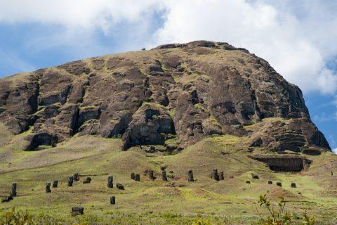 Rano Raraku quarry, Easter island - general view