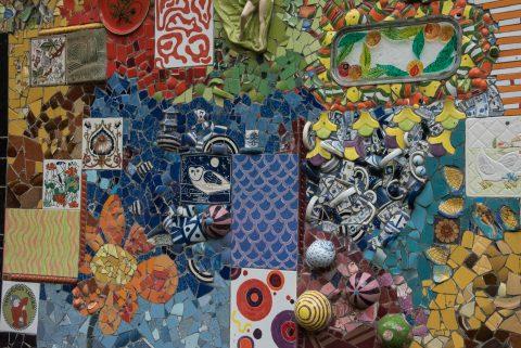 'Gaudi' like wall, garden in Puerto Ayora