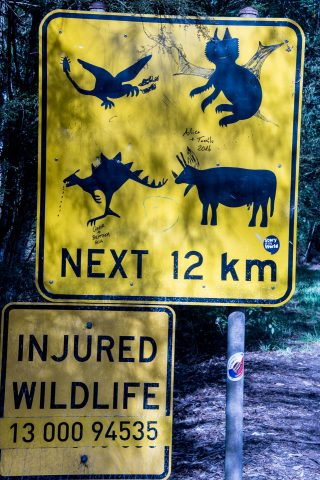 Road sign with additions, Great Ocean Road