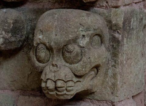 Skull carving in Museum, Copan