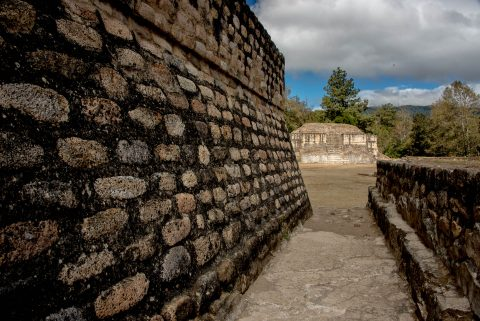 Looking from Temple 1 alley to Plaza a & Temeple 2, Iximche