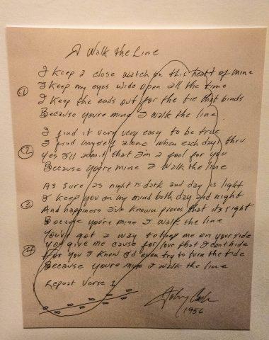 'I walk the line' words and foot, Johnny Cash, Nashville