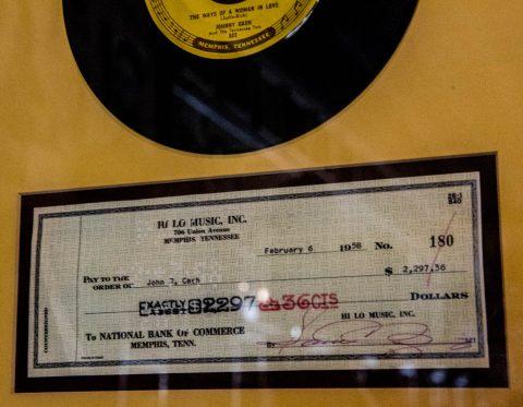 Johnny Cash cheque 1958, Sun Studio, Memphis