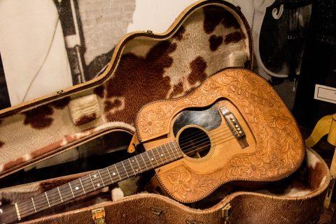 Elvis cow hide guitar case, Sun Studio, Memphis