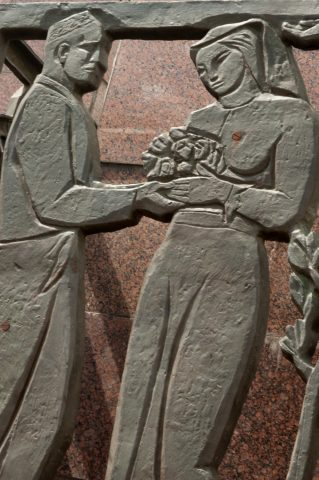 Relief showing reconstruction, Earthquake Memorial, Tashlent
