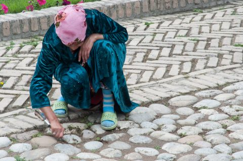 Tidying up, The Registan, Samarkand