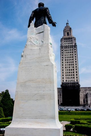 Huey P Long statue, and State Capitol Building, Baton Rouge, Lou