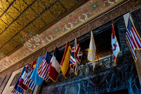 Flags of historic governing bodies at Baton Rouge