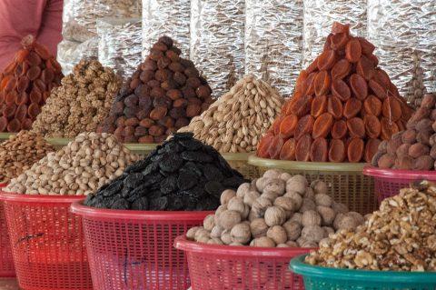 Dreid fruit and nuts, market Samarkand