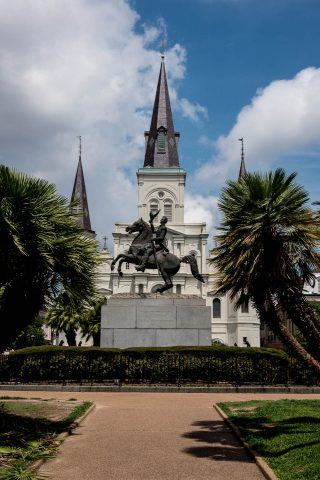 Andrew Jackson statue with St Louis Cathedral, New Orleans, Loui