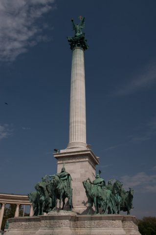 Column and statues, Heroes Square, Budapest