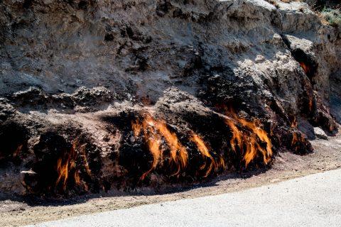 Yanar Dag (Fire Mountain), Aserbon Peninsula, Baku