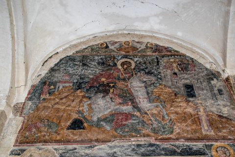 St George & dragon fresco, Alaverdi Cathedral, near Telavi