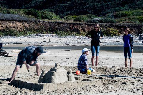 Stonefield Beach, Oregon, building a sand castle