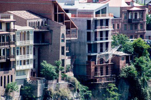 Balconies overlooking Mtkvari River, Tbilisi