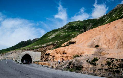 Winter tunnels & iron coloured limestone, near Kazbek