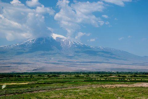 Mount Ararat with closed Turkish border. Armenia