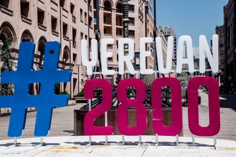 Yerevan 2,800 birthday sign