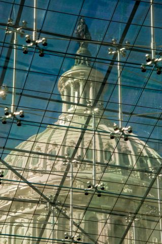 The Capitol's dome from Emanicipation Hall, Washington DC