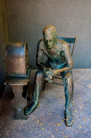 Listening to fireside chat, FDR Memorial, Washington DC
