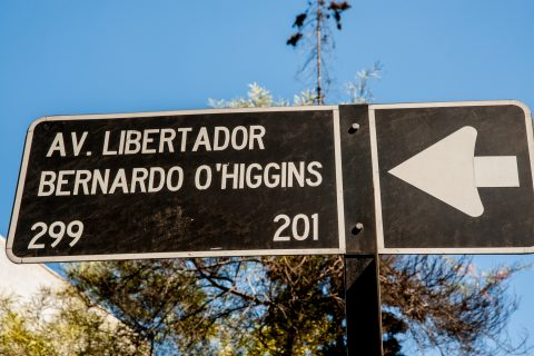 Street sign, Santiago, Chile
