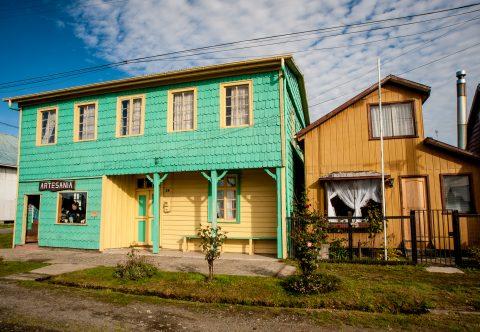 Wood-shingled houses, Chacao, Chiloe, Chile