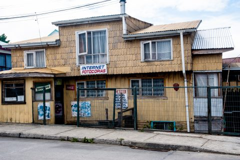 Wood-shingled shop, Ancud, Chiloe, Chile
