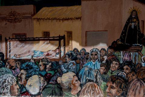 Church painting, Humahuaca,, Argentina