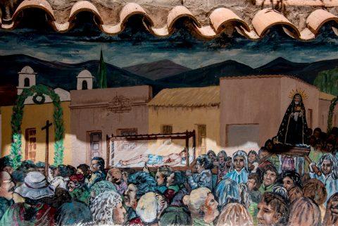 Church painting, Humahuaca,, Argentina, Humahuaca