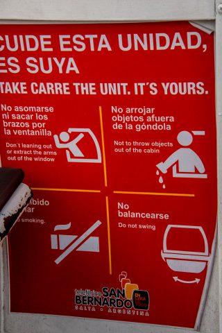 Cable car notice, Salta, Argentina