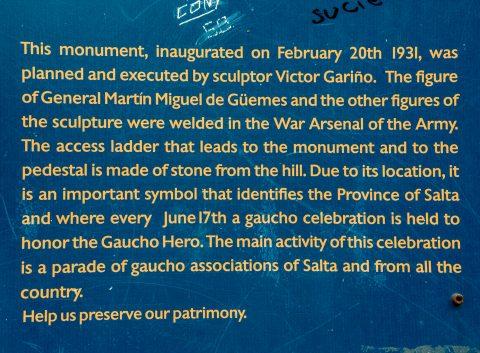 Martin Miguel de Guemes memorial notice, Salta, Argentina