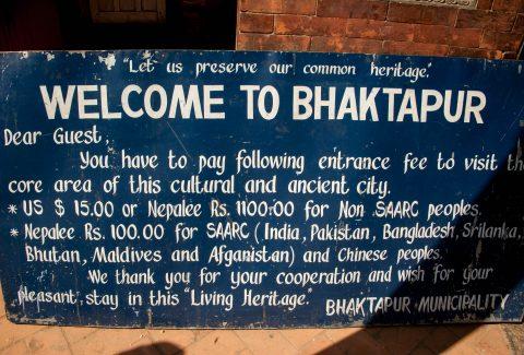 Bhaktapur sign, Nepal