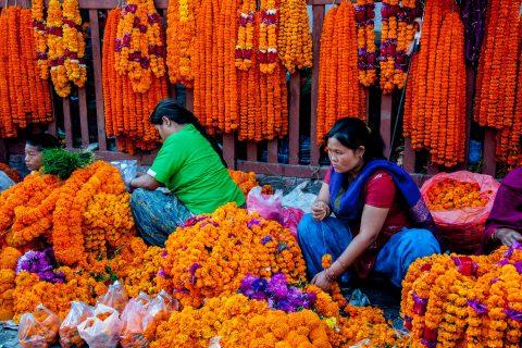 Flower offerings, Kathmandu, Nepal
