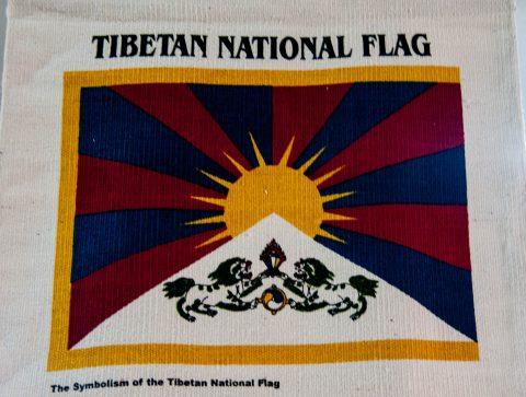 Tibetan flag at their camp, Pokhara, Nepal