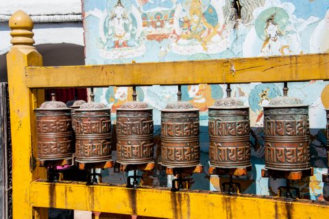 Boudhanath Stupa, prayer wheels, Kathmandu, Nepal