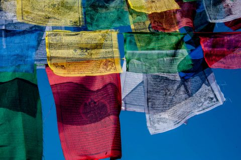 Boudhanath Stupa prayer flags, Kathmandu, Nepal