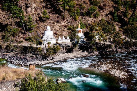 Chortens at Chhuzom, Bhutan