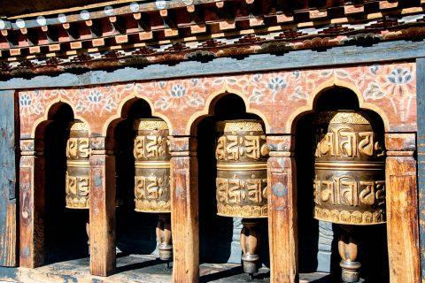 Changangkha Lhakhang prayer wheels, Thimphu, Bhutan