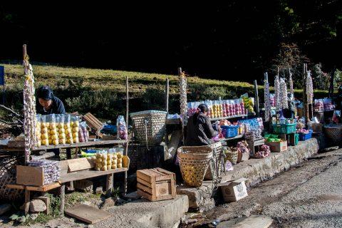 Tibetan roadside stalls near Thimphu, Bhutan