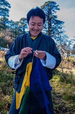 Tashi flying prayer flags, Dochula Pass, Bhutan