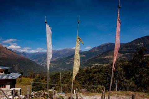 Prayer flags, Punakha Valley, Bhutan
