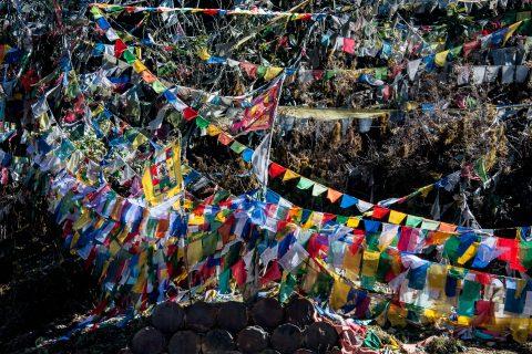 Prayer flags, Pelela Pass, Bhutan