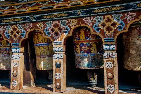 Trongsa Dzong prayer wheels, Bhutan
