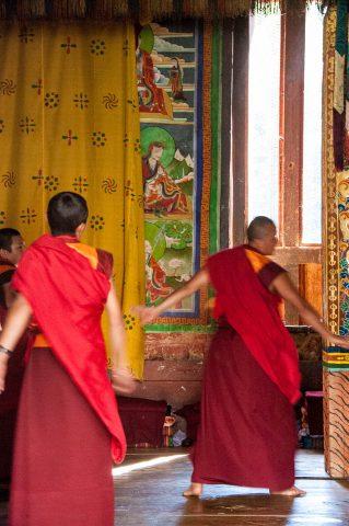 Trongsa Dzong dancing monks, Bhutan
