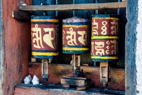 Jampa Lhakhang, prayer wheels, Bhutan