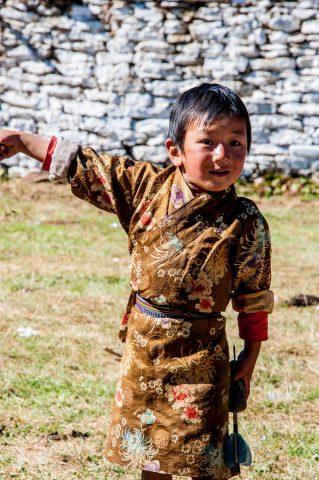 Jampa Lhakhang, young viistor, Bhutan